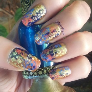 Chinese Brocade nail art by Ruth Cox (@firefly5)