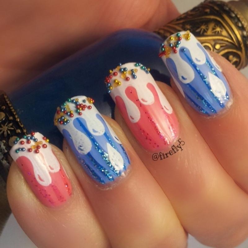 Melting Icecream nail art by Ruth Cox (@firefly5)
