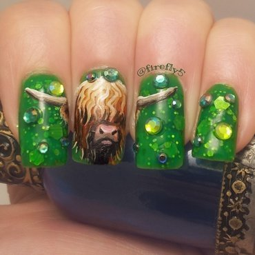Highland Taurus nail art by Ruth Cox (@firefly5)