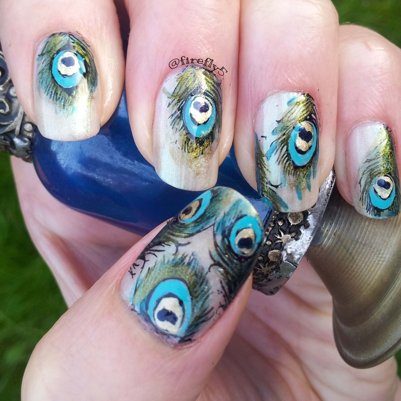 Peacock Feathers nail art by Ruth Cox (@firefly5)