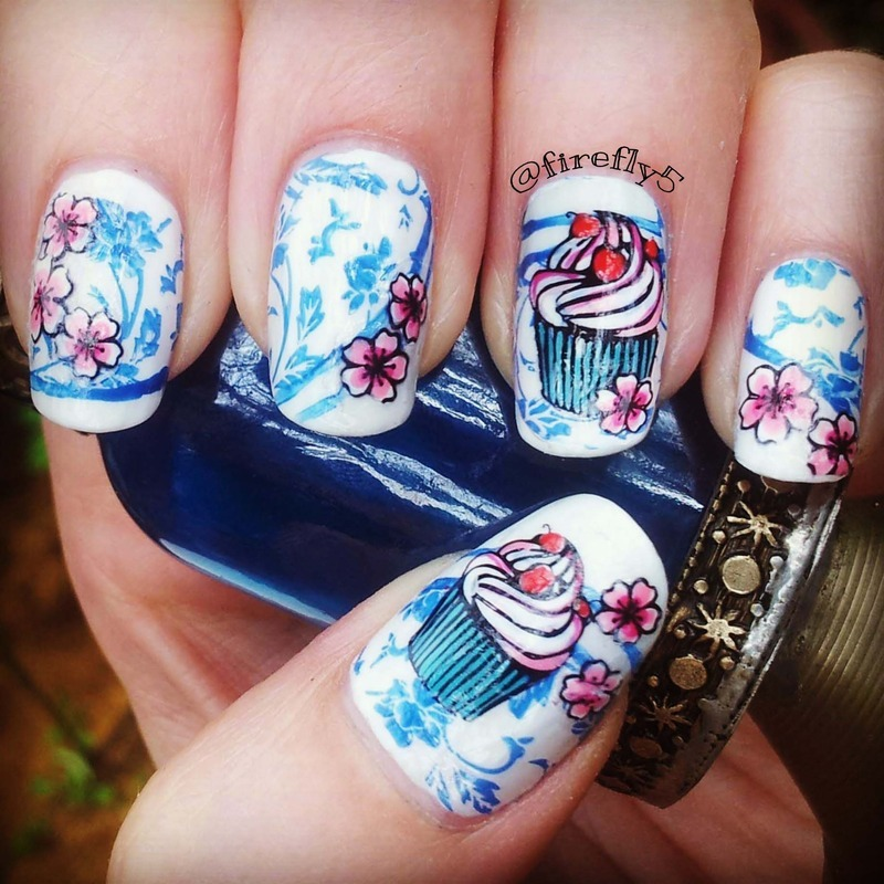 Cupcakes nail art by Ruth Cox (@firefly5)