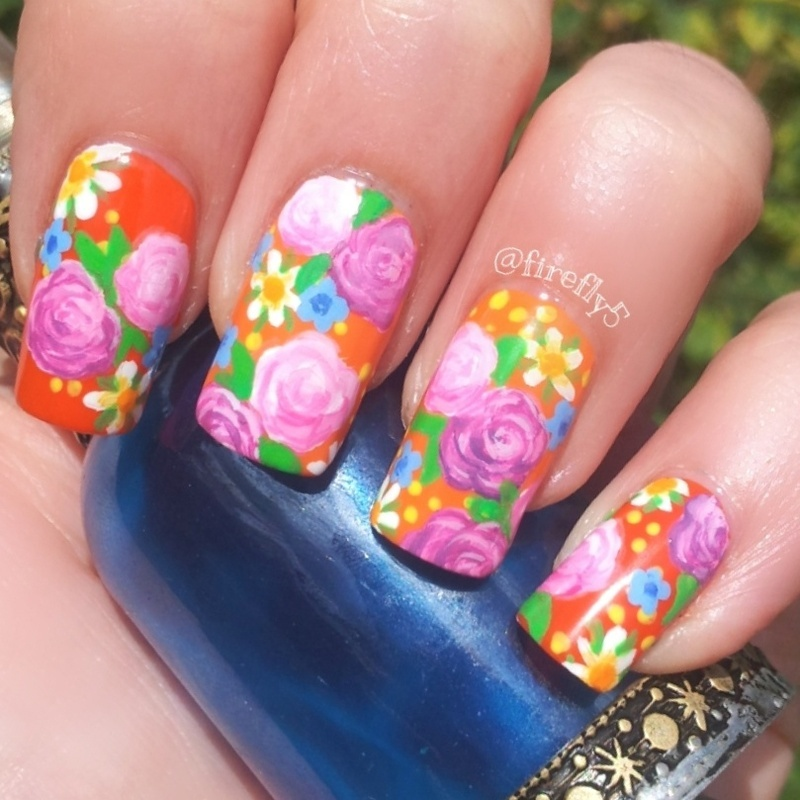 Roses and Forget me nots nail art by Ruth Cox (@firefly5)