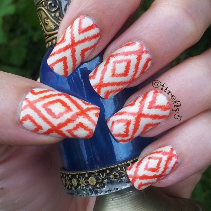 Ikat Diamonds nail art by Ruth Cox (@firefly5)