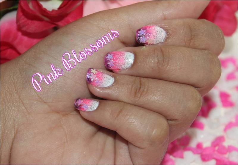 Pink Blossoms Nail Art nail art by ImJanine0812