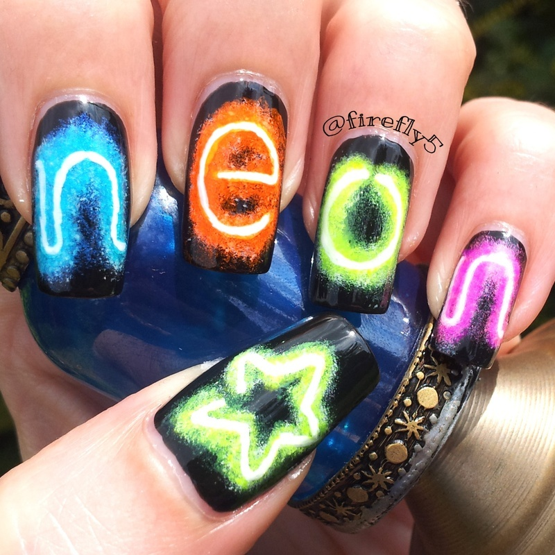 Neon Lights nail art by Ruth Cox (@firefly5)