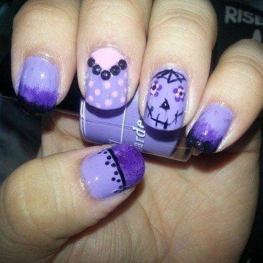 Sugar Skull Purple nail art by Tenticurl Creations
