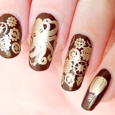 Nail art steampunk octopus jules verne plaqes plates bundle monster create your own gears stamping eyeslipsface brown kiko mirror gold 20 1  thumb370f