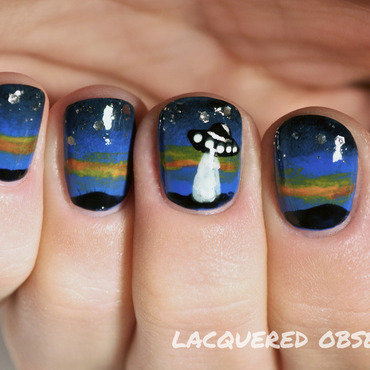 Aliens are coming nail art by Lacquered Obsession