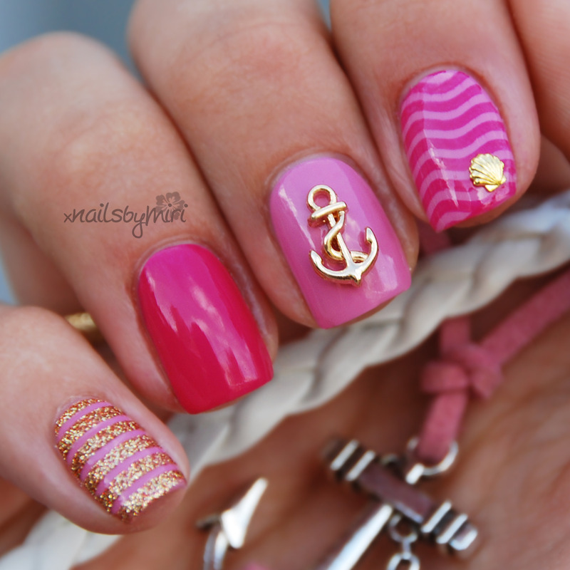 Pink sailor naiks nail art by xNailsByMiri