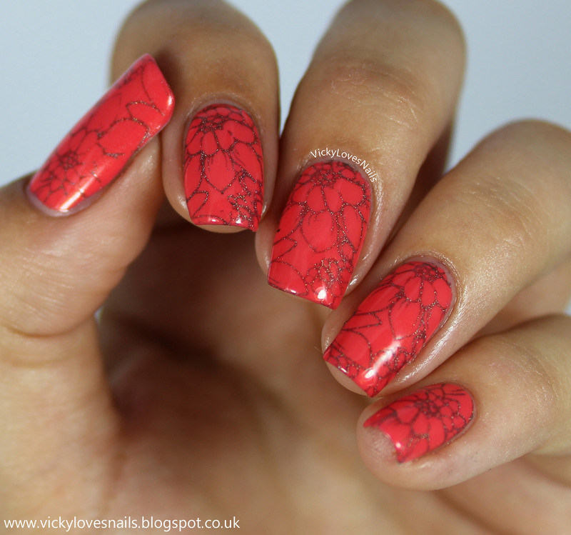 Coral and Grey Floral Stamping nail art by Vicky Standage