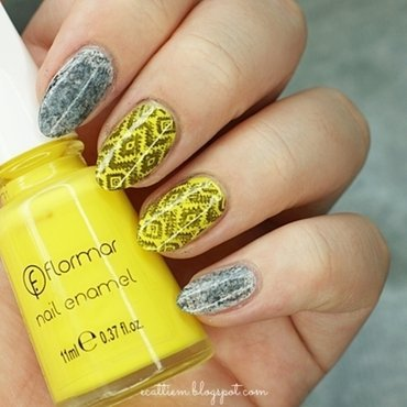 Aztec in yellow nail art by ecattiem