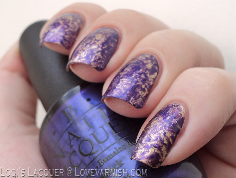 Gold and purple saran wrap marble nail art by Loqi