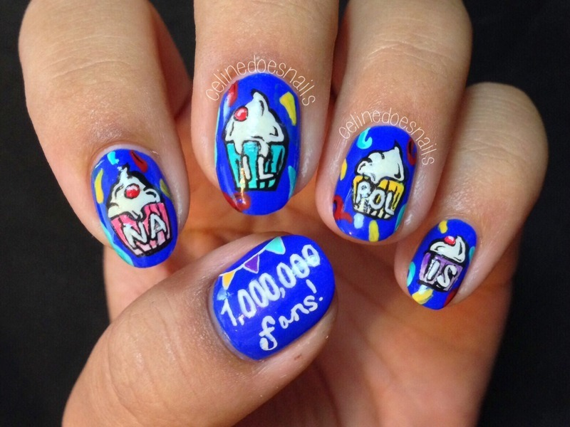 NailPolis '1,000,000 Facebook Fans' Nail Art nail art by Celine Peña