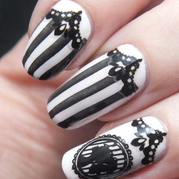Nail art manucure baroque camee create your own bundle monster stripes beetle juice gothic lace dentelle etude house stickers ongles blanc elf swatch noir konad steampunk 2 thumb370f