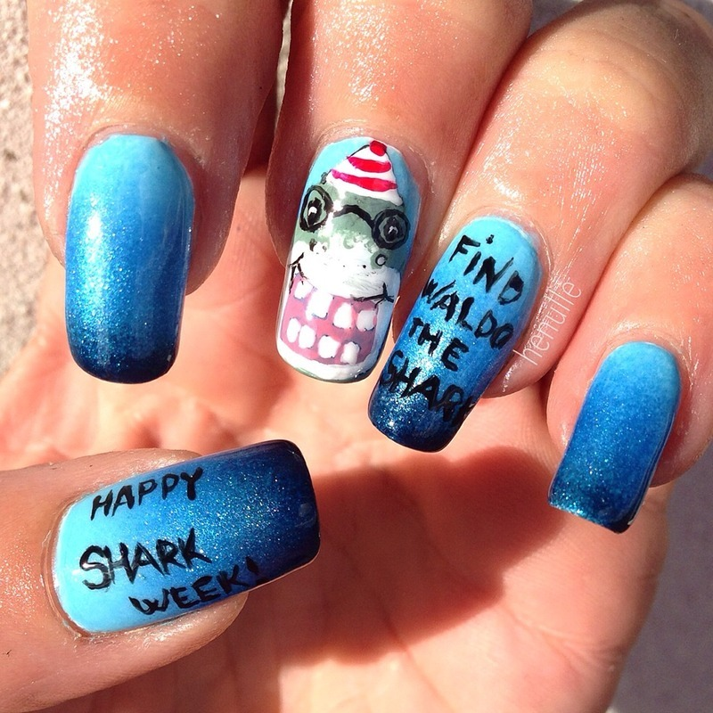 Shark week nails, meet Waldo the Shark nail art by Henulle