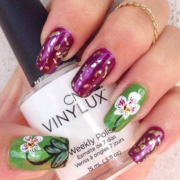 Orchid nails with foil nail art by Henulle