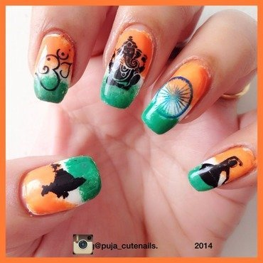 Happy Independence Day  nail art by Puja Malhotra