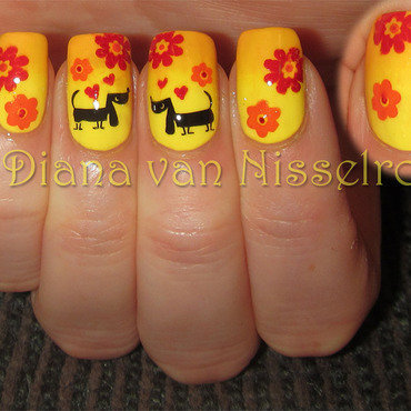Dachshunds in love nail art by Diana van Nisselroy