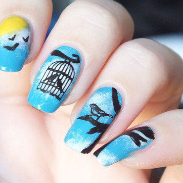 Nail art birds sky clouds kiko elf white sunflower cheeky charming princess stamping sun soleil oiseaux 20 1  thumb370f