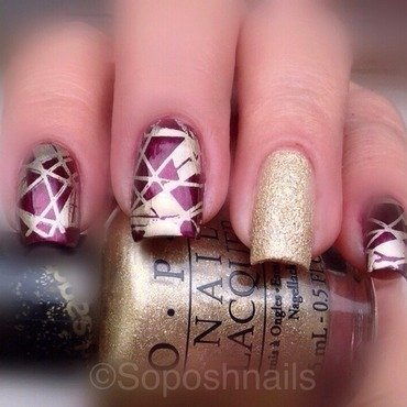 Wine and Gold Geometric nail art by Debbie