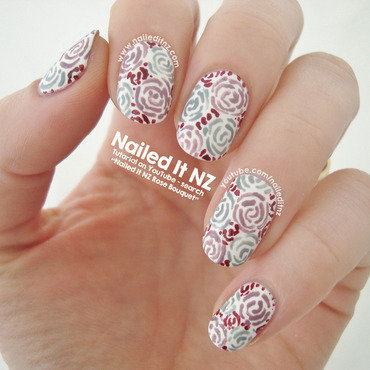 Bouquet of Roses Nail Art nail art by Jessie Mills