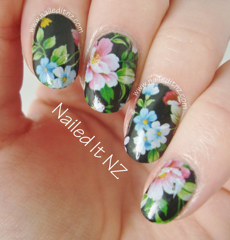 Floral Nail Art - Water Decals from BPS nail art by Jessie Mills