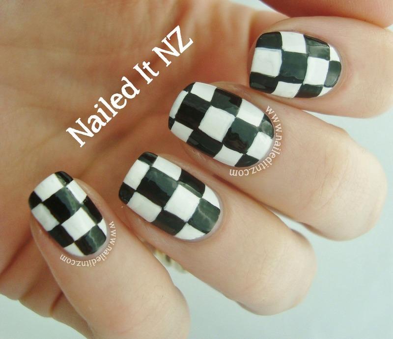Checkered Nail Art nail art by Jessie Mills