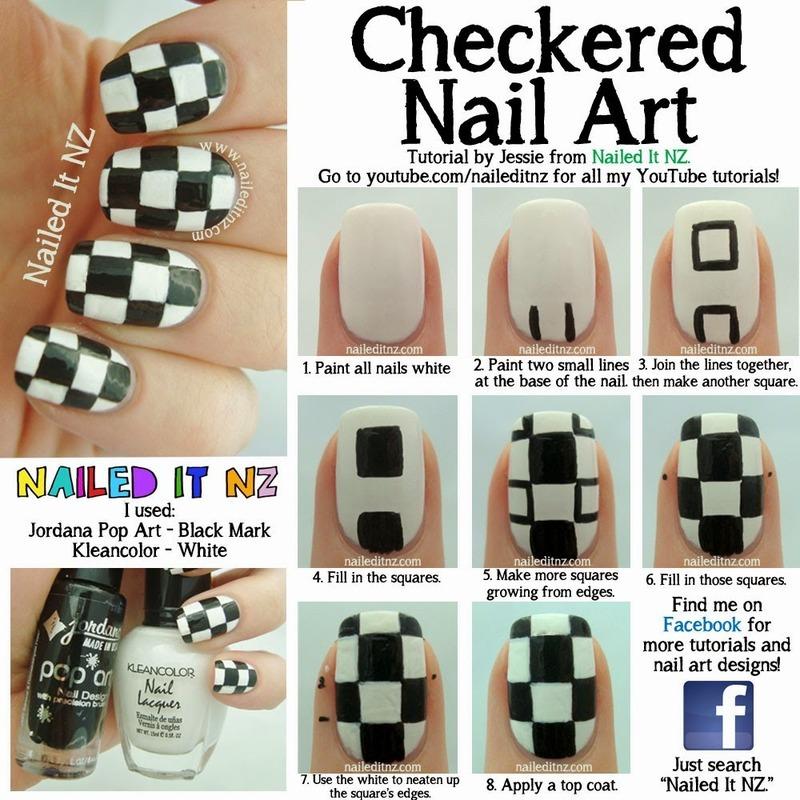 Checkered Nail Art Tutorial nail art by Jessie Mills - Nailpolis ...