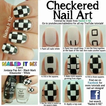 Checkered Nail Art Tutorial nail art by Jessie Mills