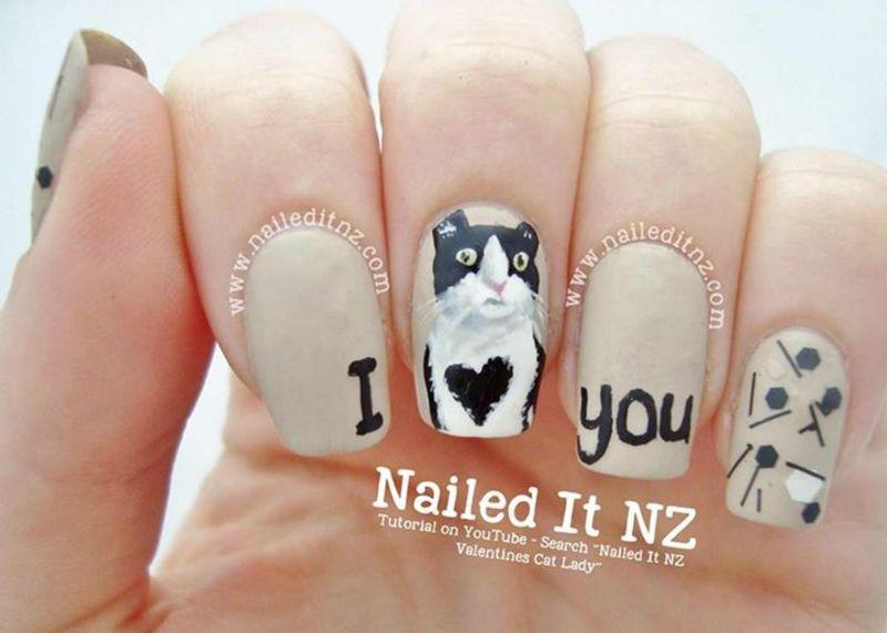 Anti-Valentines/Cat Lady Nail Art! nail art by Jessie Mills