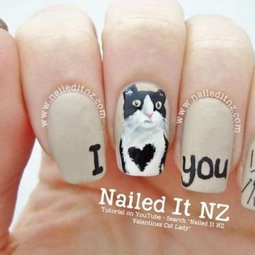 Anti-Valentines/Cat Lady Nail Art! nail art by Jessie Mills