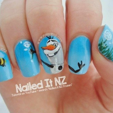 Olaf (Frozen) Nail Art nail art by Jessie Mills