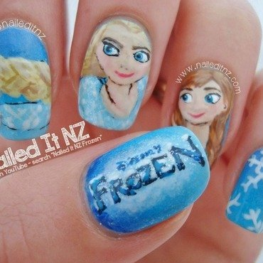 Elsa and Anna (Frozen) Nail Art  nail art by Jessie Mills