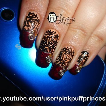 Black Flowers with Maroon Manicure nail art by Leneha Junsu