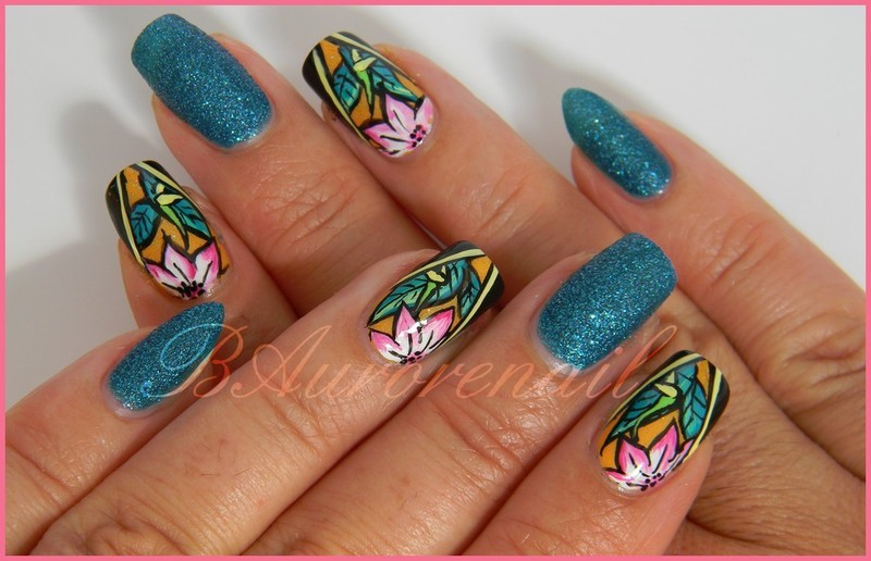 tropical nail art by BAurorenail