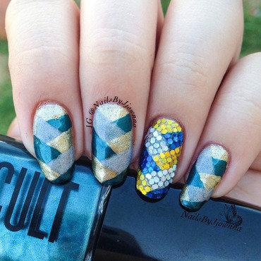 Glitter Placement Fishtail nail art by Jonna Dee