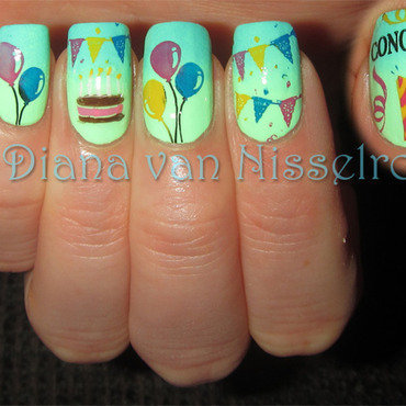 Time to Party nail art by Diana van Nisselroy