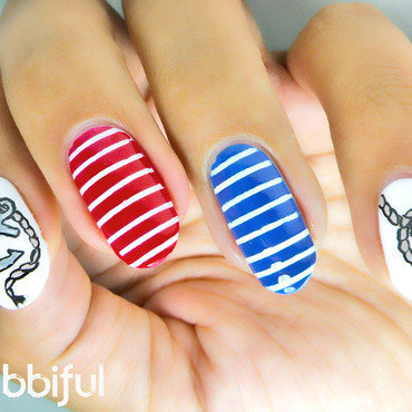 Ahoy, Sailor! With Inocos - Solo Shot nail art by Cubbiful