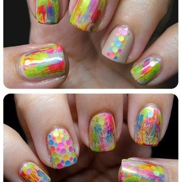 Loose Neon Glitter nail art by Samantha Rae