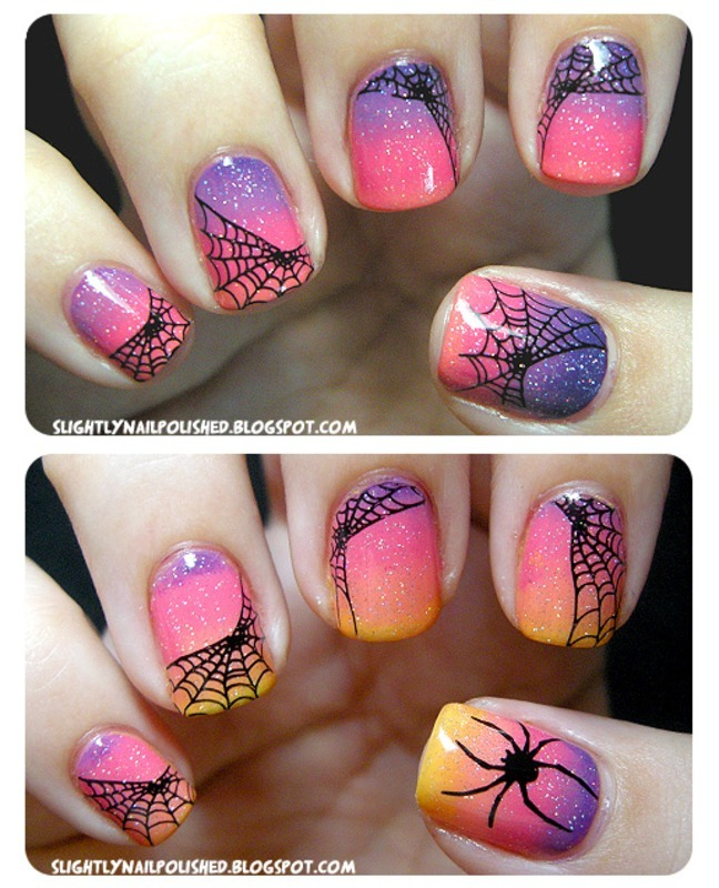 Sunset Spiderwebs nail art by Samantha Rae