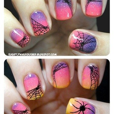Sunset Spiderwebs nail art by Samantha Rae