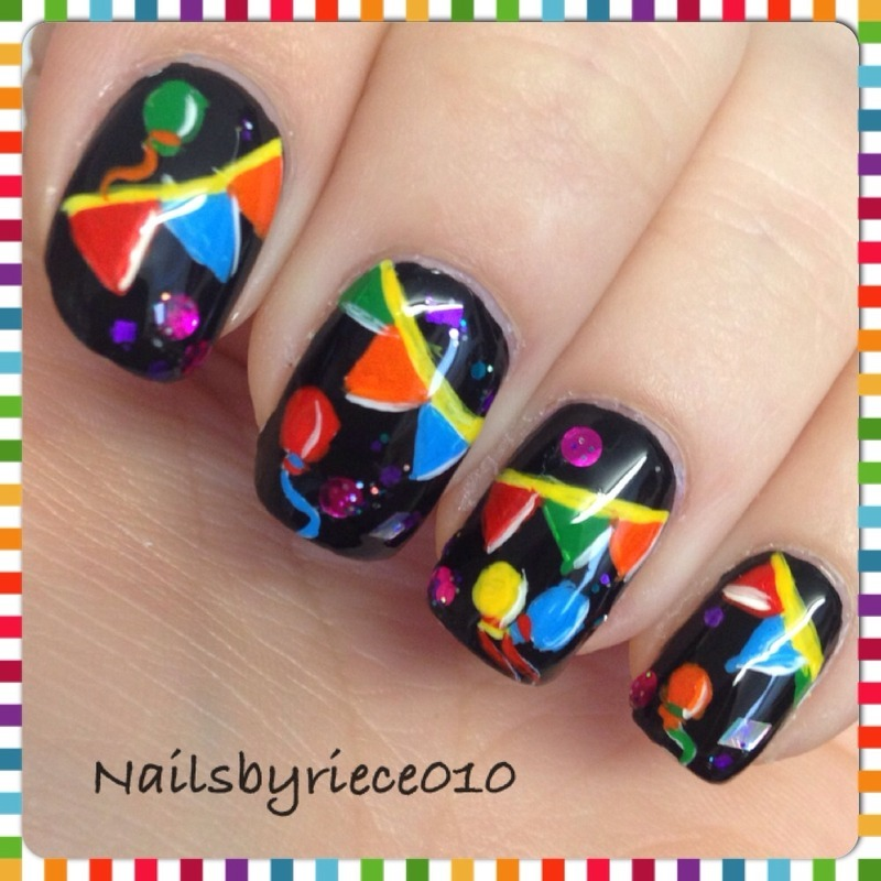 Party Nails nail art by Riece