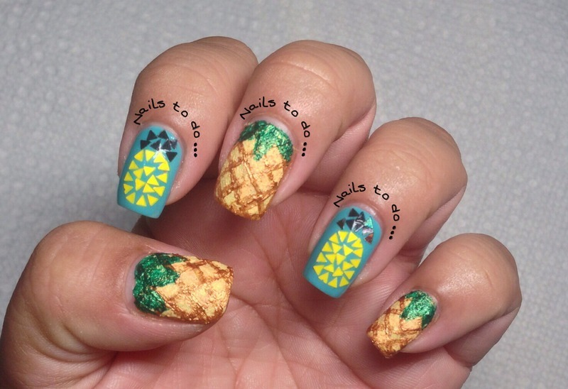 Pineapples nail art by Jenny Hernandez