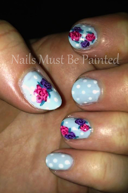 Kitsch Florals nail art by Emily