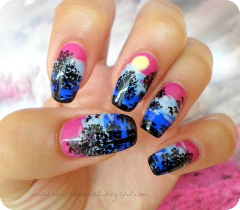 evening landscape nail art by Edyta