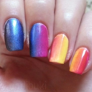 Vertical Gradient Rainbowish nail art by Adi Buki