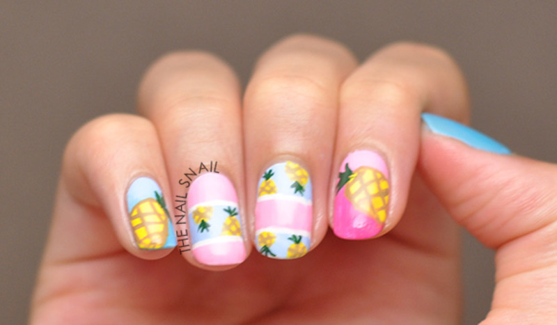 Pineapple Nails nail art by Lucy (the Nail Snail)