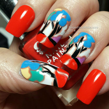 Inspired by Clarice Cliff nail art by Sam