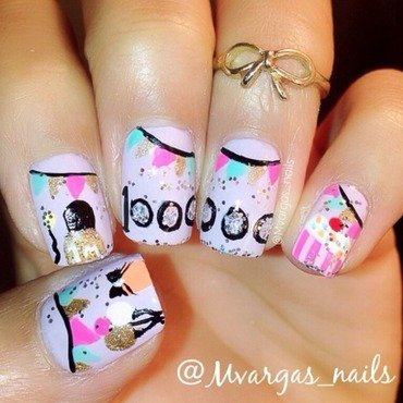 Nail polish party nail art by Massiel Pena