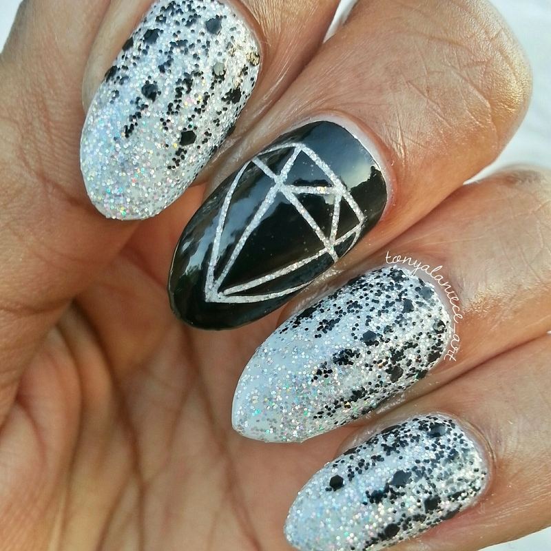 Black Diamond  nail art by Tonya